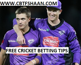 Free Cricket Betting Tips Online Help and Guide from Cricket Betting Tips Expert Cbtf Shaan of at Hobart Hurricane Vs Sydney Thunder Big bash T20 30th December 2017 at Launceston