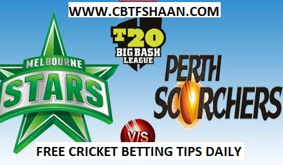 Free Cricket Betting Tips Online Help and Guide from Cricket Betting Tips Expert Cbtf Shaan of at Perth Scorchers Vs Melbourn Stars Big bash T20 26th December 2017 at Perth