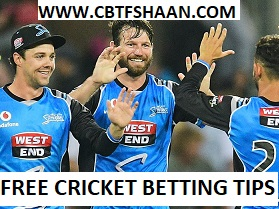 Free Cricket Betting Tips Online Help and Guide from Cricket Betting Tips Expert Cbtf Shaan of at Hobart Hurricane vs Adelaide Strikers Big bash T20 4th January 2018 at Hobart