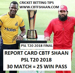 Cricket Betting Tips Free Online Help of Peshawar Zalmi Vs Islamabad United Psl T20 25th March 2018 Final at Lahore