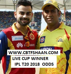 Free Cricket Betting Tips Online Help and Guide from Cricket Betting Tips Expert Cbtf Shaan of Ipl T20 2018 or Indian Premier League T20 2018 Live Cricket Match Rate or Odds of Cup Winner