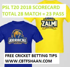 Free Cricket Betting Tips Online Help and Guide from Cricket Betting Tips Expert Cbtf Shaan of Peshawar Zalmi Vs Karachi Kings T20 21st March 2018 at Lahore
