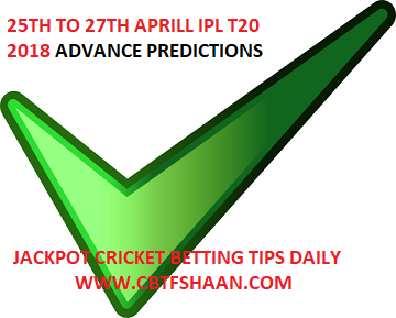 25Th Aprill to 27Th Aprill Ipl T20 2018 Free Cricket Betting Tips & Predictions