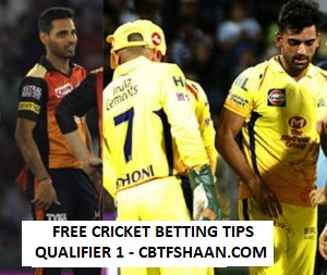 Cricket Betting Tips Online Help and Guide from Cricket Betting Tips Expert Cbtf Shaan of Chennai Vs Hyderabad Ipl T20 22nd May 2018 at Mumbai