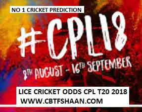 Cpl T20 2018 Or Caribbean Premier League T20 2018 Cup Winner Betting Odds or Rate Live before series.
