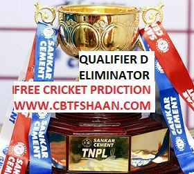 Free Cricket Betting Tips of Tnpl T20 2018 Eliminator d Qualifier today of both match from cbtf shaan