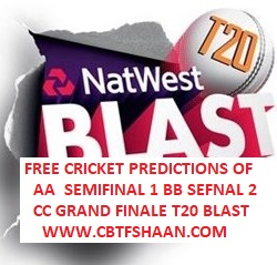 Free Cricket Betting Tips Online Help and Guide from Cricket Betting Tips Expert Cbtf Shaan of Natwest T20 Blast All Matches Predictions on 15th September 2018
