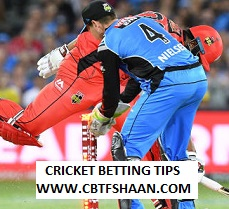 Cricket Betting Tips Free of Big Bash T20 Melbourne Renegades Vs Adelaide Strikers 3rd Jan 2019 at Geelong