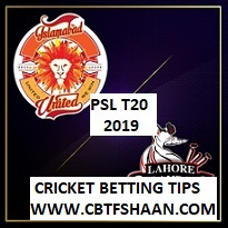 Cricket Betting Tips Free of Islamabad Vs Lahore Psl T20 2019 14th Feb at Dubai