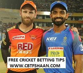 Cricket Betting Tips Free of Ipl T20 Hyderabad Vs Rajsthan 29TH March 2019 at Rajasthan
