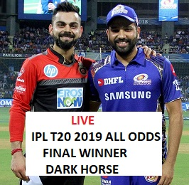 Live Cricket Match Odds Indian Premier League T20 2019 With Cup Winner Rate