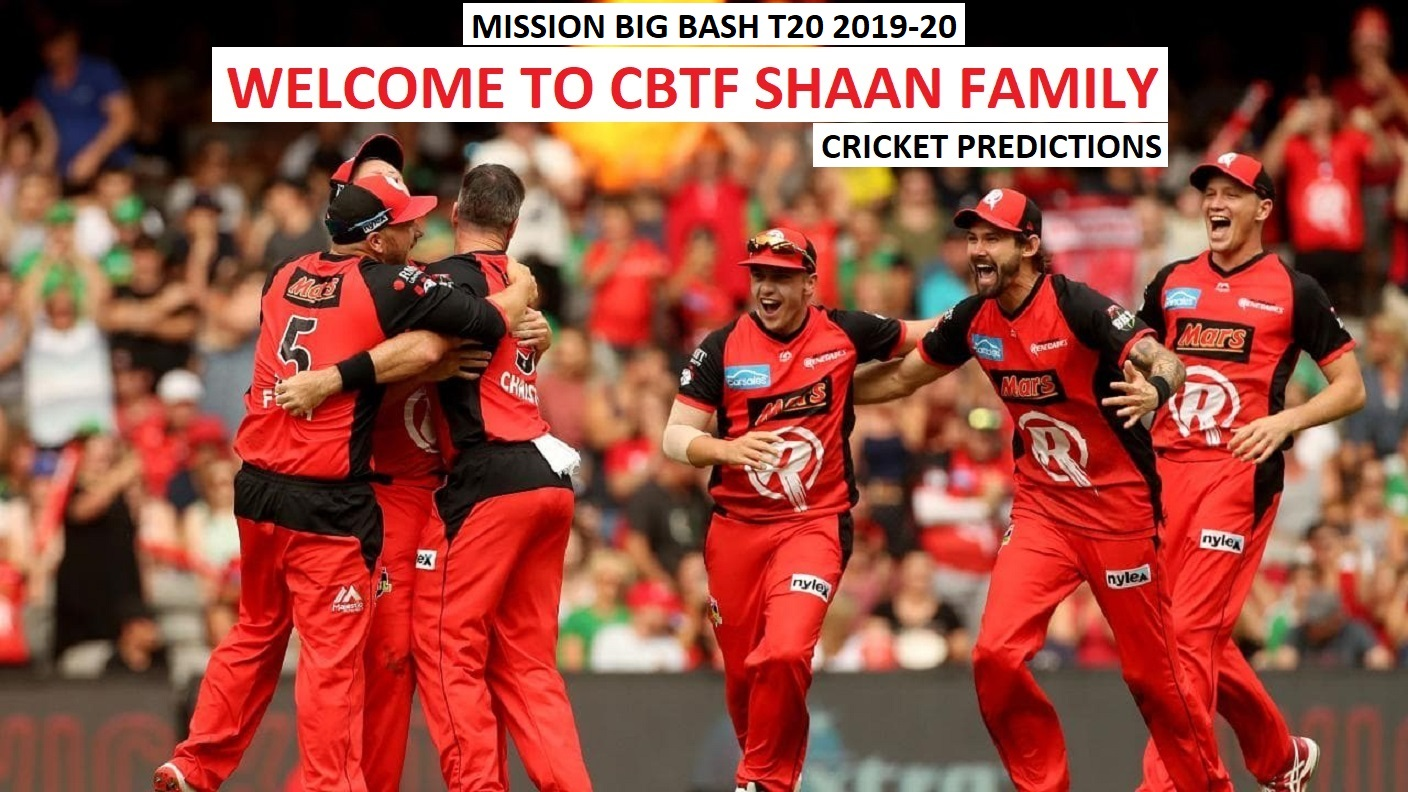 Big Bash T20 2019-20 Jackpot Cricket Predictions with all cricket matches Predictions daily for all followers